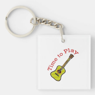 Time to Play Acoustic Guitar - Choose Background Keychain