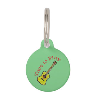 Time to Play Acoustic Guitar - Green Background Pet ID Tag