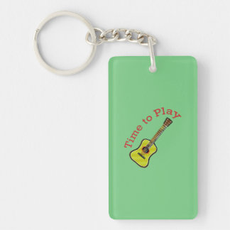 Time to Play Acoustic Guitar - Green Background Keychain