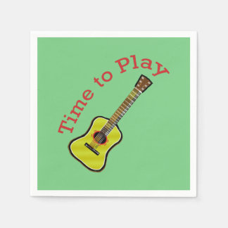 Time to Play Acoustic Guitar - Green Background Paper Napkin