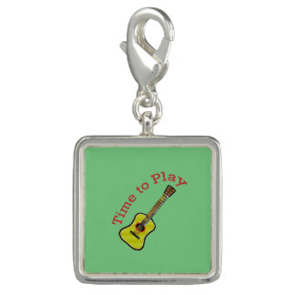 Time to Play Acoustic Guitar - Green Background Charms