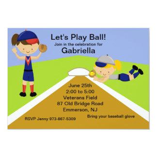 Time To Play Ball! Softball Birthday Invitation