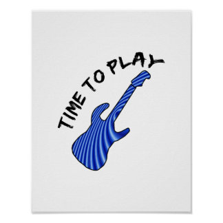 Time To Play Electric Guitar - Custom Background Poster