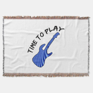 Time To Play Electric Guitar - Custom Background Throw