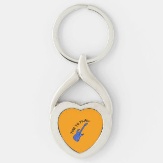 Time To Play Electric Guitar - Orange Background Keychain