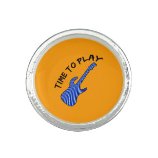 Time To Play Electric Guitar - Orange Background Photo Rings