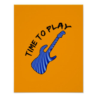 Time To Play Electric Guitar - Orange Background Poster