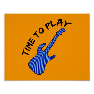 Time To Play Electric Guitar - Orange Background Posters
