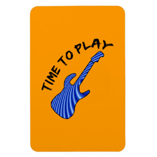 Time To Play Electric Guitar - Orange Background Vinyl Magnet
