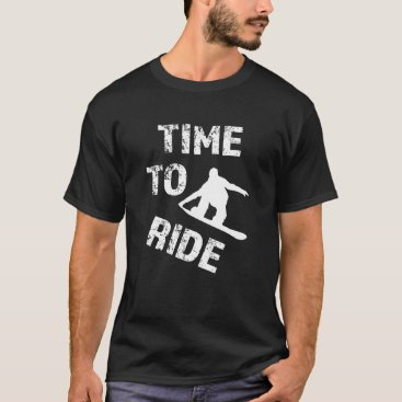 Beach Themed Time to Ride funny men's snowboarding T-shirt
