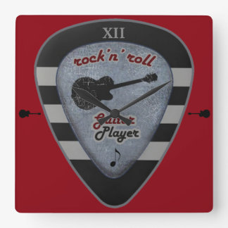 time to rock/ a guitar pick square wall clock