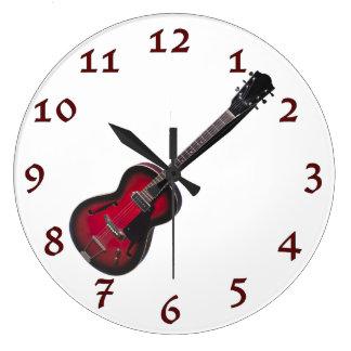 Time To Rock Vintage Red Guitar Wallclock