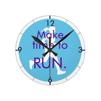Time to Run-blue Round Clock