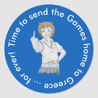 Time to send the games back classic round sticker