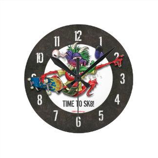 Time To Skateboard Wall Clock Concrete Pattern