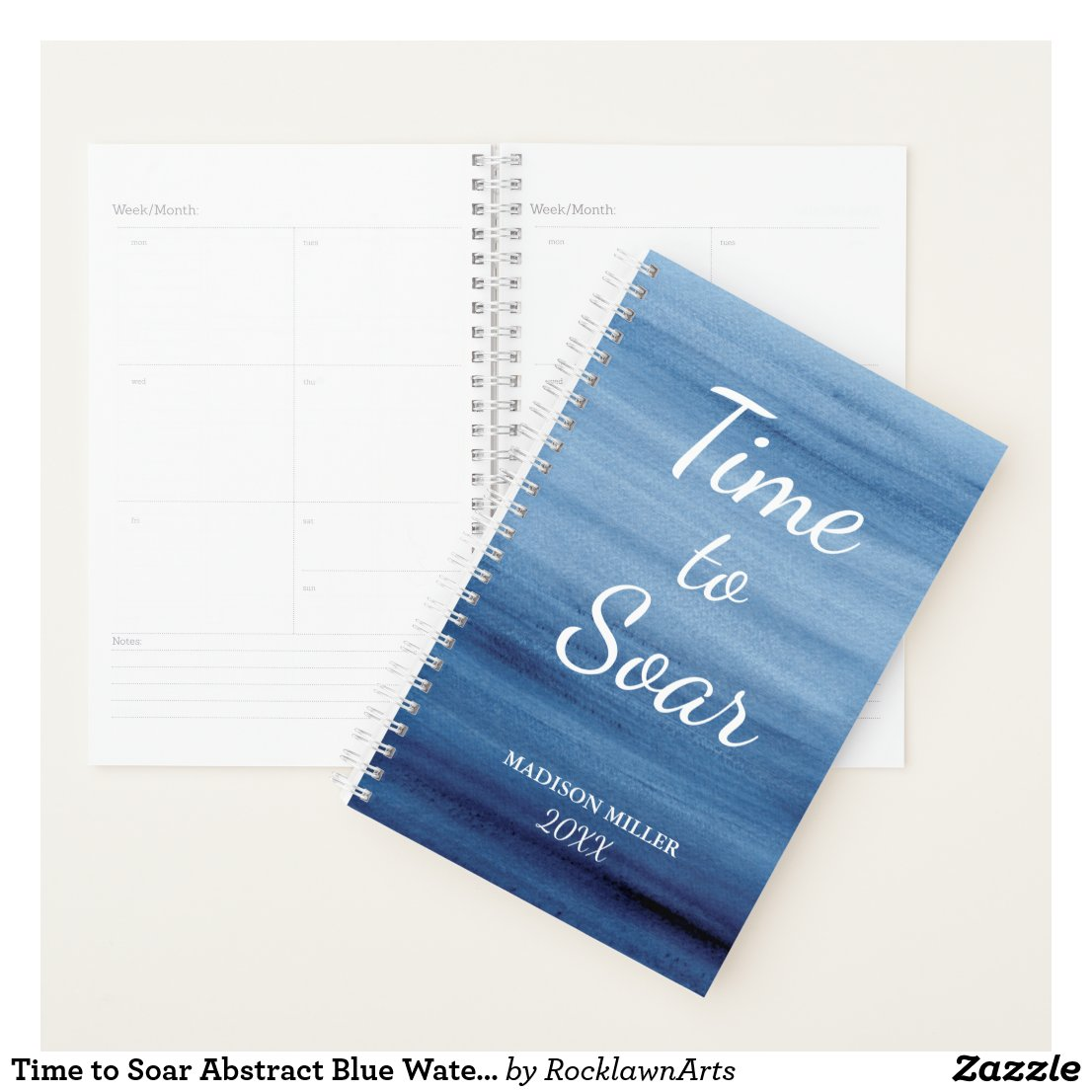 Time to Soar Abstract Blue Watercolor Inspiration Planner