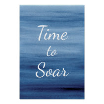 Time to Soar Abstract Blue Watercolor Inspiration Poster