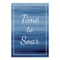 Time to Soar Abstract Blue Watercolor Inspiring Poster