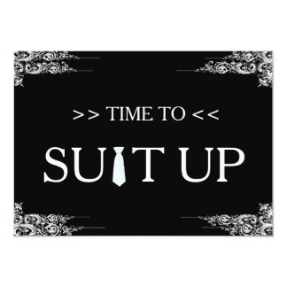 Time to Suitup Black Chalk Board Swirl Card