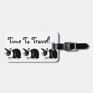 Time To Travel! Black White Rabbits Luggage Tag