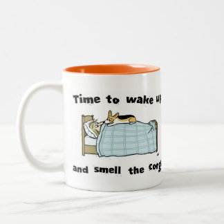 Time to Wake Up and Smell the Corgi Two-Tone Coffee Mug
