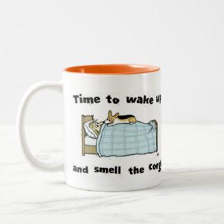 Time to Wake Up and Smell the Corgi Two-Tone Coffee Mug