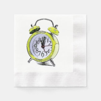 Time to Wake Up Yellow Alarm Clock Drawing Coined Cocktail Napkin