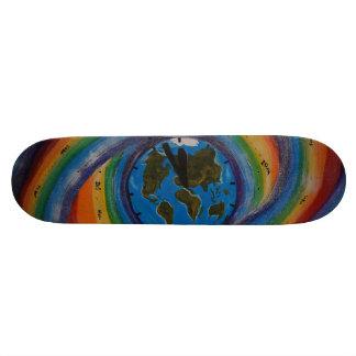 Time travel, vortex, multicolored, earth, clock skateboard deck