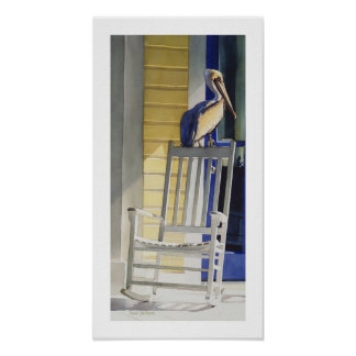 """Time Traveler"" Pelican on Rocking Chair Poster"