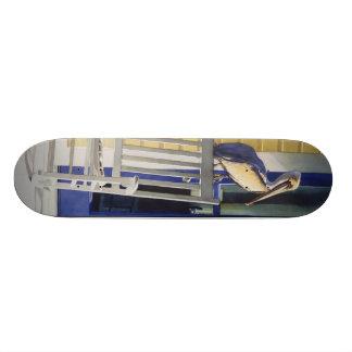 """Time Traveler"" Pelican on Rocking Chair Skateboard Deck"