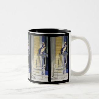 """Time Traveler"" Pelican on Rocking Chair Two-Tone Coffee Mug"