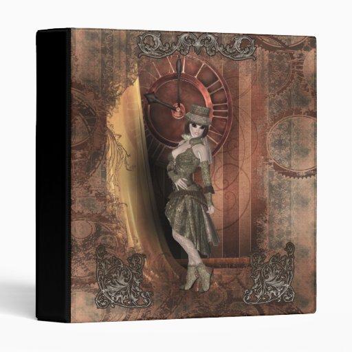 Time Traveler Steampunk Pinup Vinyl Binder