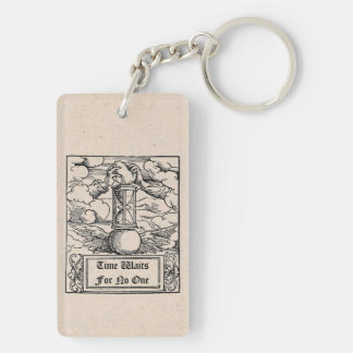 """Time Waits For No One"" Personalized Keychain"