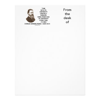 Time With Its Continuity Logically Peirce Quote Letterhead