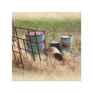Time Worn Farm Barrels Canvas Print