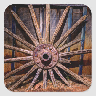 Time Worn Wheel Square Sticker