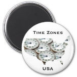 Time Zone Pocket Watch Fridge Magnets