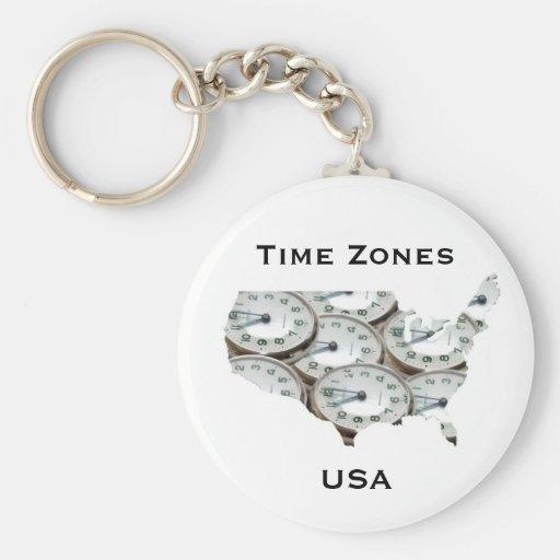 Time Zone Pocket Watch Key Chain