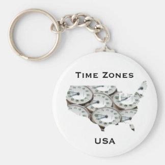 Time Zone Pocket Watch Keychain