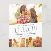 Timeless 3-Photo Save the Date Announcement Postcard