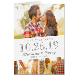 Timeless 3-Photo Save The Date Card