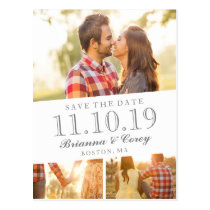 Timeless 3-Photo Save the Date Postcard