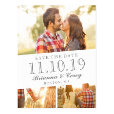 Timeless 3-photo Save The Date Postcard at Zazzle