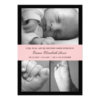 Timeless Band Birth Announcement - Pink Announcements
