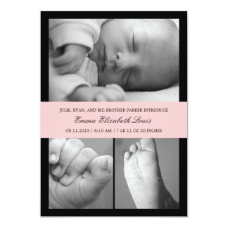 """Timeless Band Birth Announcement - Pink 5"""" X 7"""" Invitation Card"""