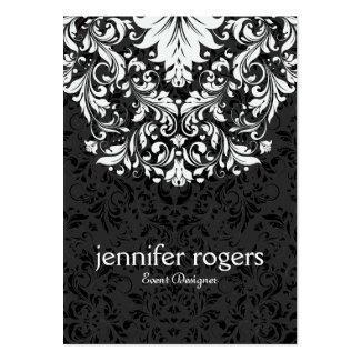 Timeless Black And White Lace & Damask Large Business Cards (Pack Of 100)