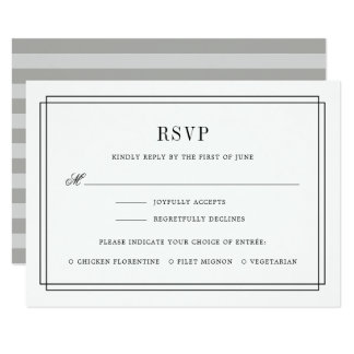 Timeless Black and White RSVP Card w/ Meal Choice