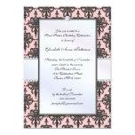 Timeless Black & Pink Damask Sweet 16 Party Custom Invitations