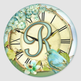 timeless bluebird whimsy initial letter R Classic Round Sticker