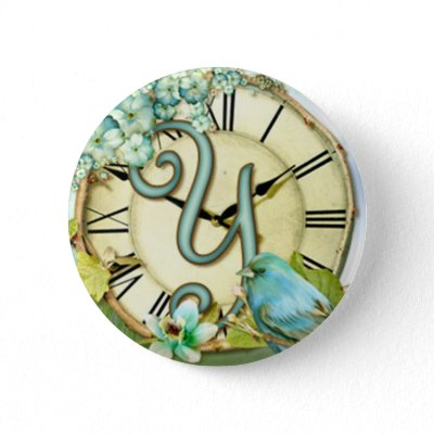 timeless bluebird whimsy initial letter Y pinback buttons